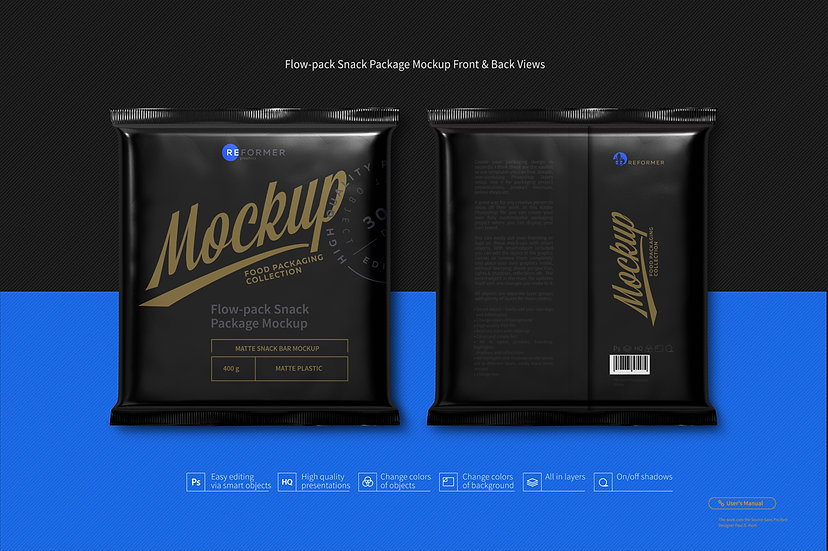 Flow-pack Snack Package Mockup Front & Back Views