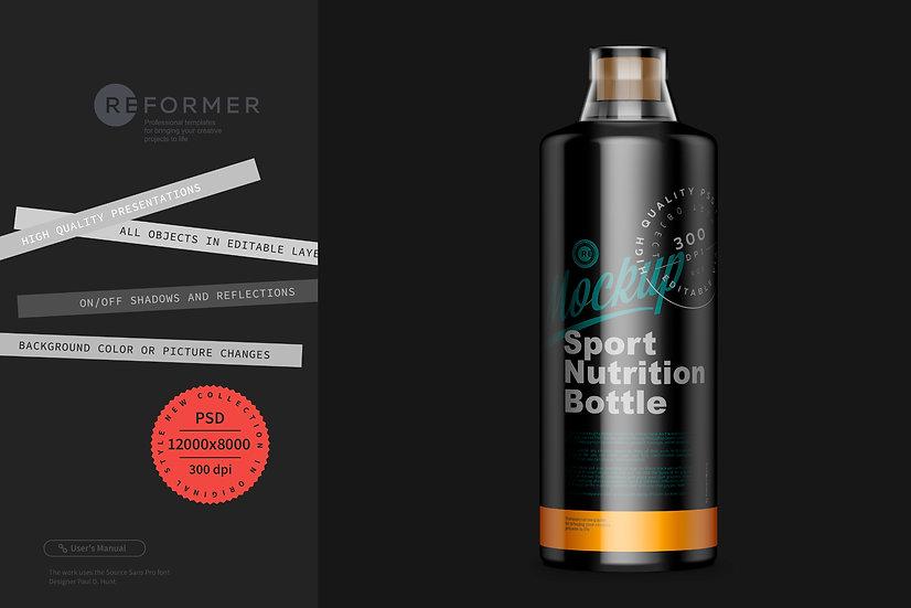 Glossy Black Sport Nutrition Bottle Mockup 1000ml