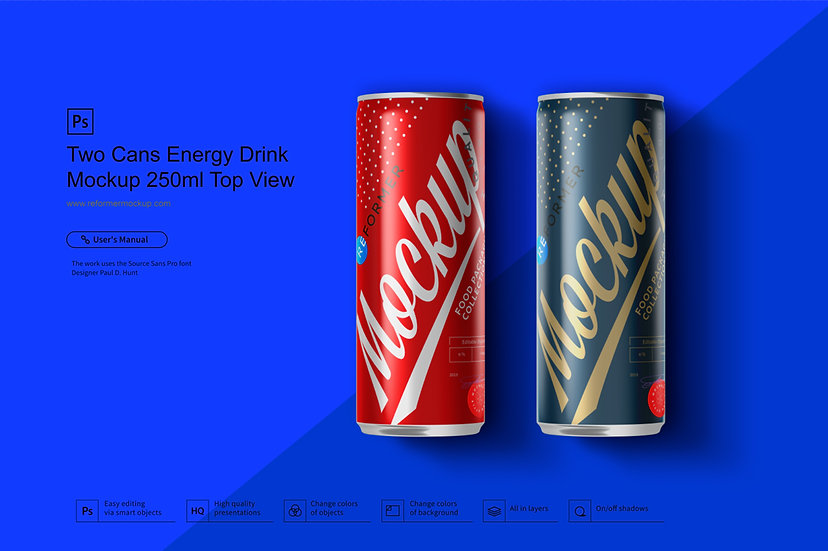 Two Cans Energy Drink Mockup 250ml Top View