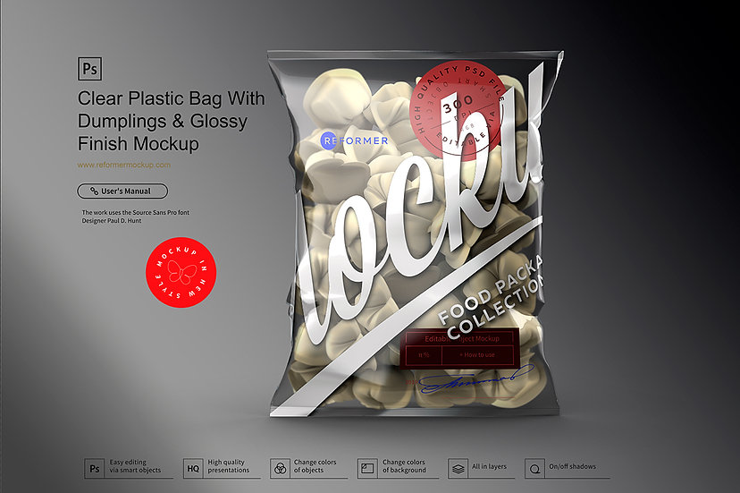 Clear Plastic Bag With Dumplings & Glossy Finish Mockup