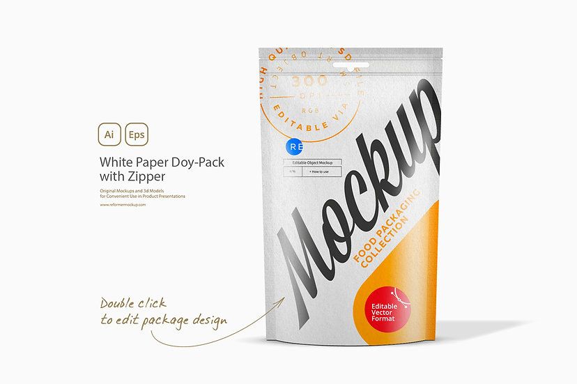 White Paper Doy-Pack with Zipper