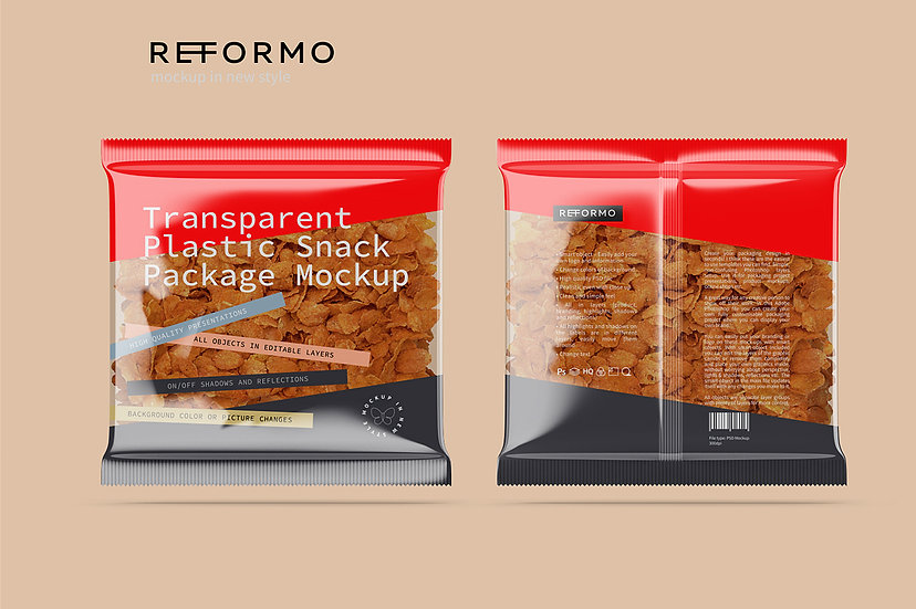 Transparent Plastic Snack Package Mockup Front & Back View