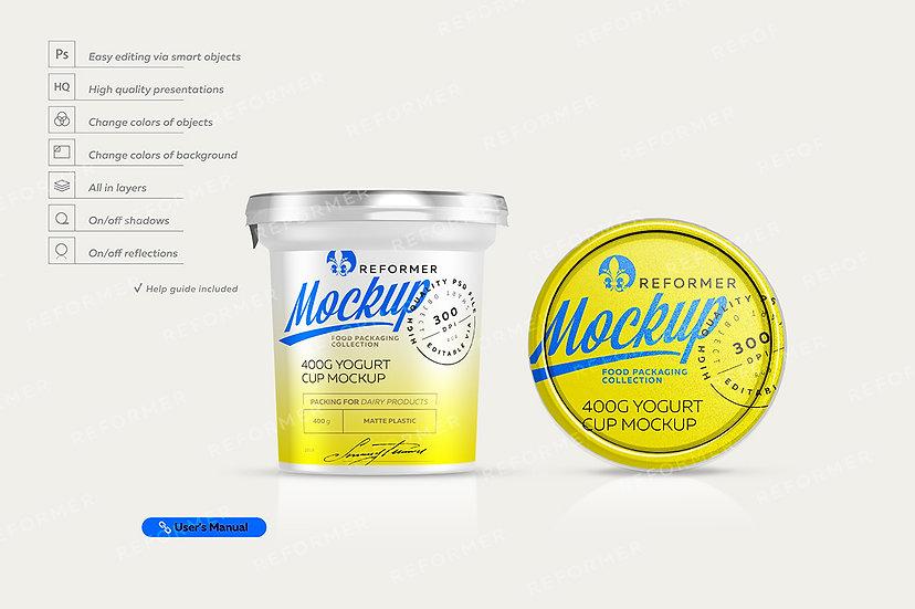 Yogurt Cup Mockup 400g