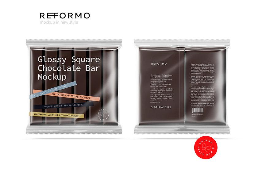 Transparent Square Chocolate Bar Mockup