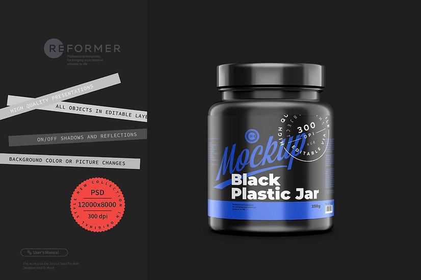 Black Matte Protein Jar Mockup 250g