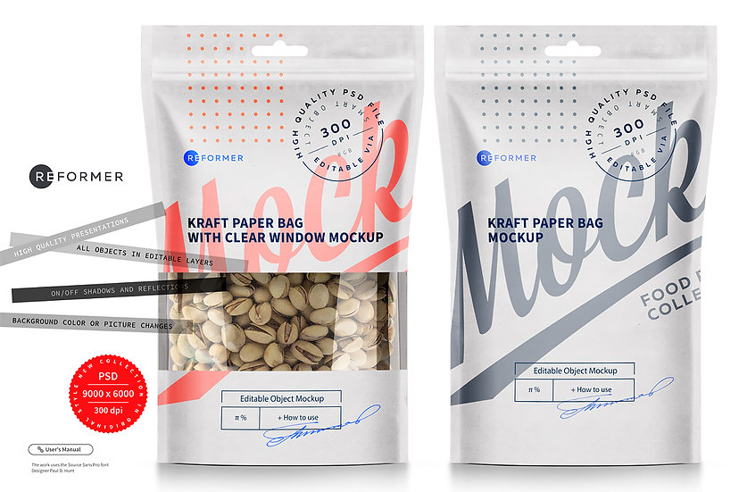 Two Paper Bag Stand up Pouch Doypack with Clear Window Mockup