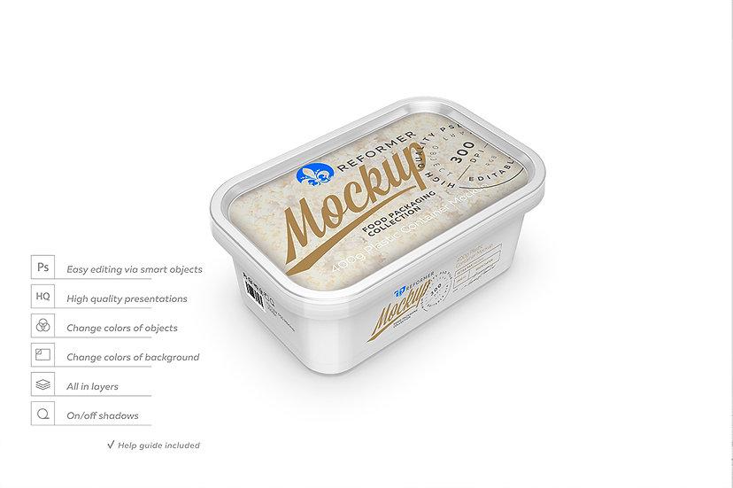 Plastic Container Mockup - Three-Quarter View 400g