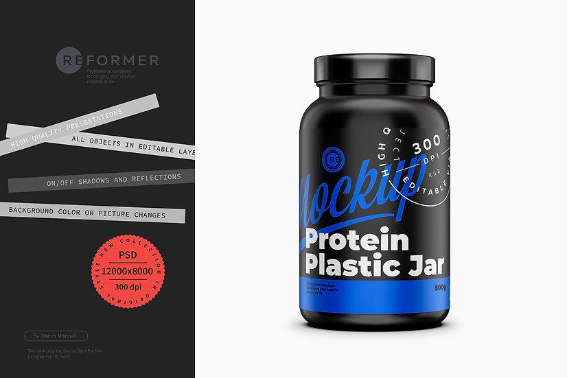 Glossy Protein Jar Mockup 500g