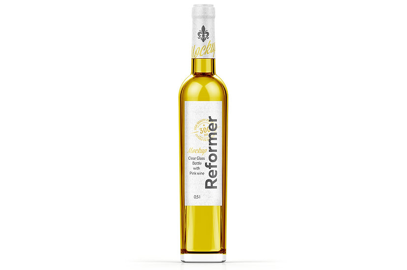 Clear Glass Bottle with White wine Mockup 0,5L