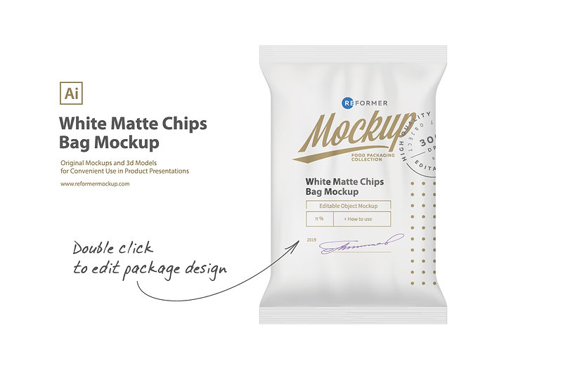White Matte Chips Bag Mockup