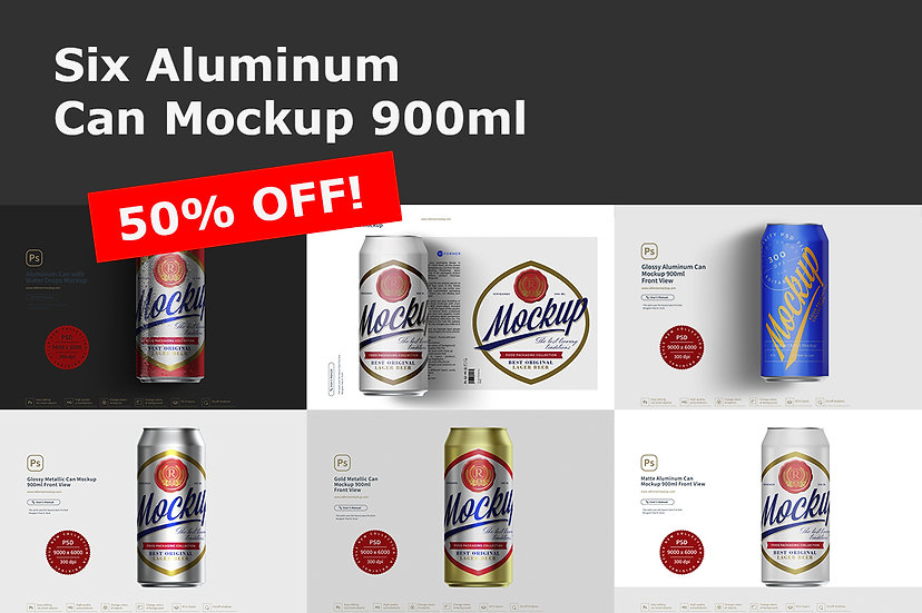 Six Aluminum Can Mockup 900ml