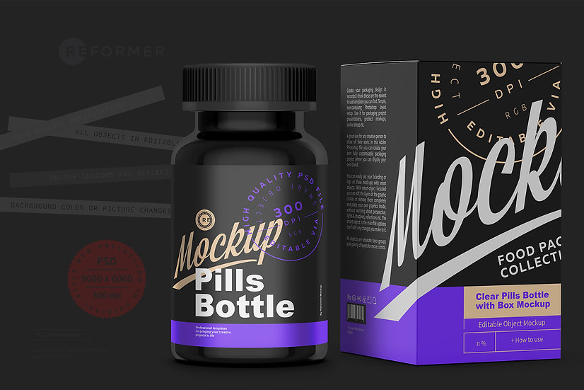 Black Pills Bottle with Box Mockup