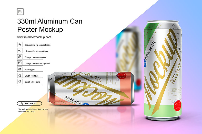 Aluminum Can Poster Mockup 330ml