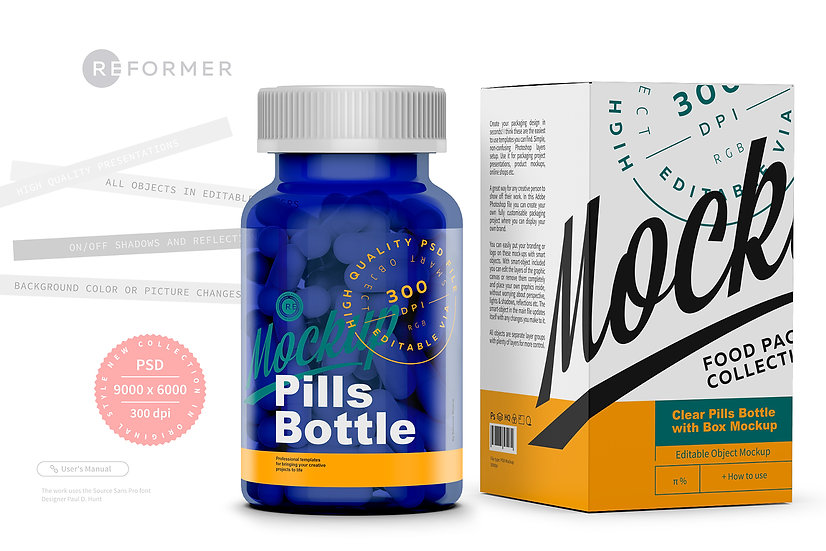 Blue Pills Bottle with Box Mockup