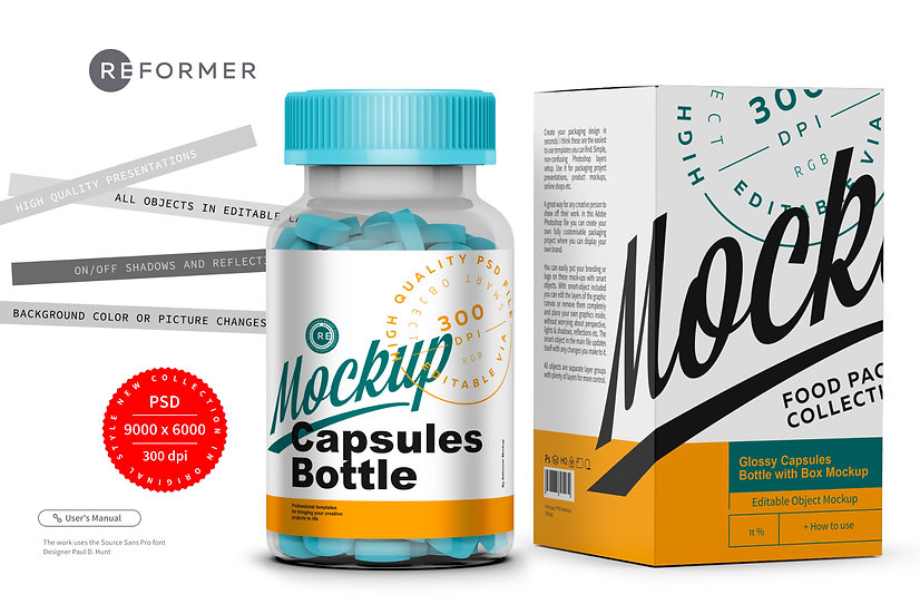 Tablets Bottle with Box Mockup