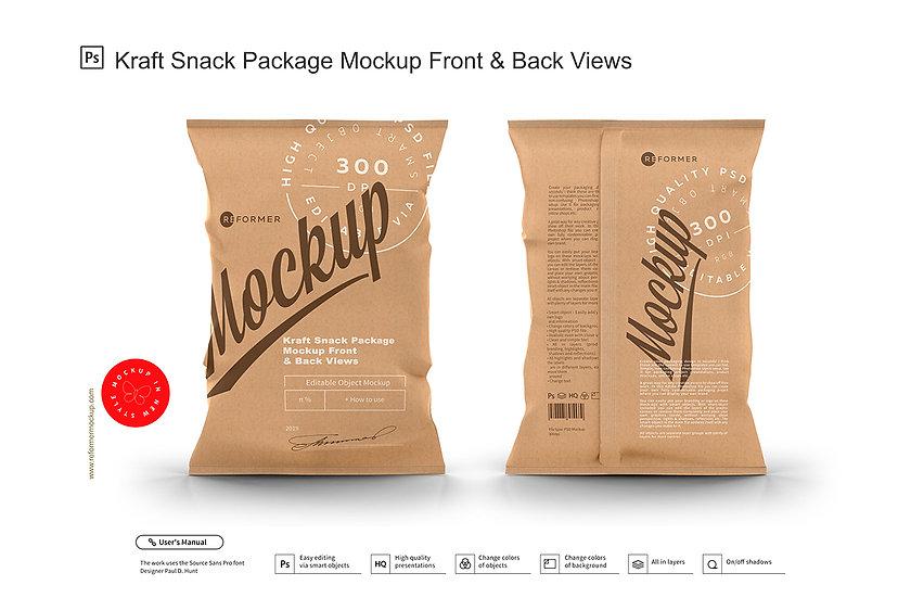 Kraft Snack Package Mockup Front & Back Views