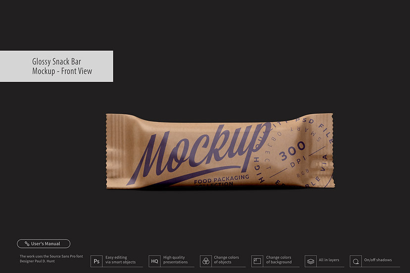 Kraft Snack Bar Mockup - Front View