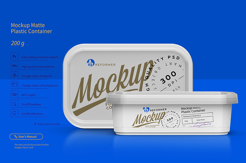 Plastic Container Mockup 200g