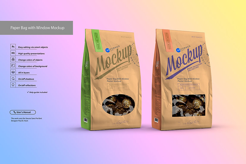 White Paper Bag with Window Mockup