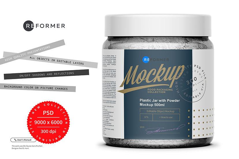 Plastic Jar with Powder Mockup 500ml