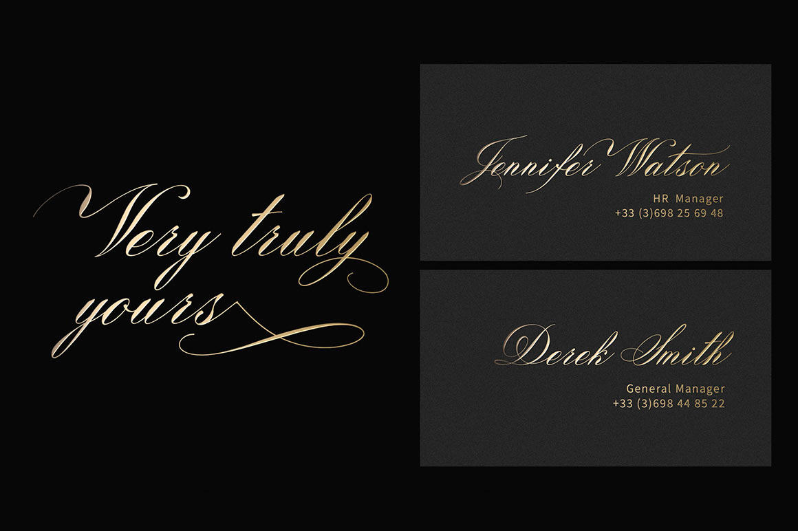 This font was created based on the works of a beautiful designer from Russia, Lola Samborskaya.her calligraphy is inspiring, and she has many students in this direction. The font has an elegant appearance, and fine smooth lines will harmoniously make up any text, both the array and the titles. In addition, there are elements that will decorate it, make it look more artistic. This font can be used in different design directions, especially where you want to Express luxury, chic, and sophistication. It looks good both on a white background and in inversion. On a business card, greeting card, multi-page publication or label, this font will be appropriate, because it is beautiful, noble, harmonious and easy to read.