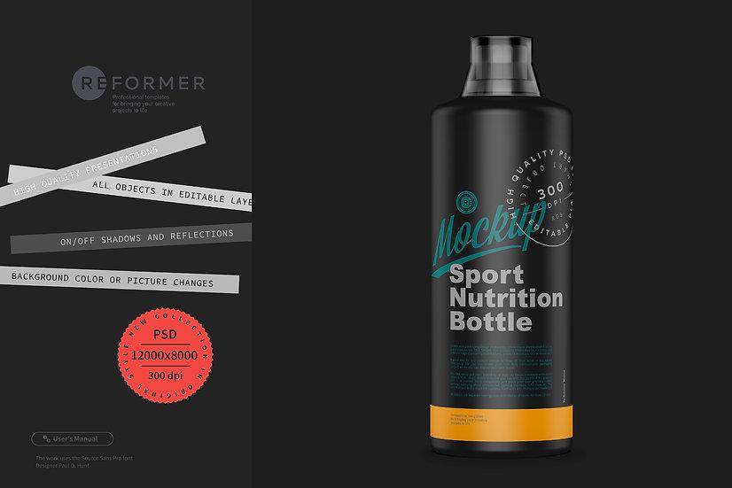 Matte Black Sport Nutrition Bottle Mockup 1000ml