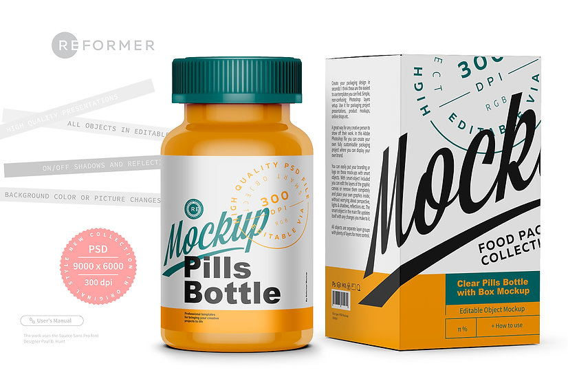 Colored Pills Bottle with Box Mockup
