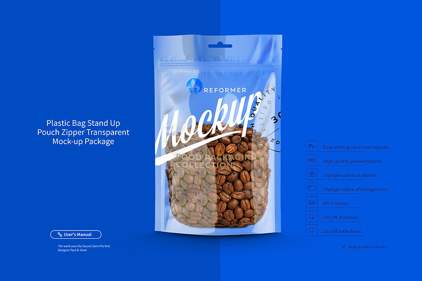 Plastic Bag Stand Up Pouch Zipper Transparent Mock-up Package