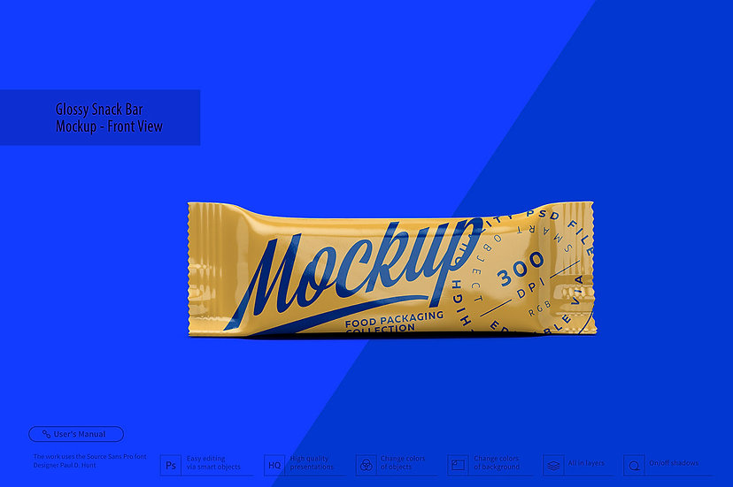 Glossy Snack Bar Mockup - Front View