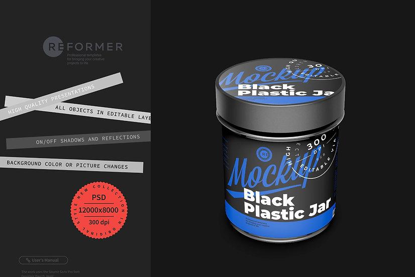 Black Plastic Jar Mockup 150g