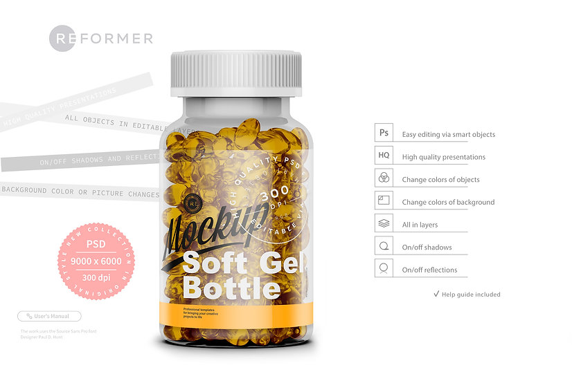 Glossy Soft Gel Bottle Mockup