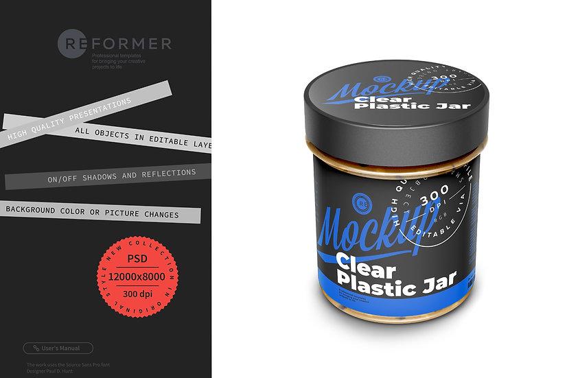 Plastic Jar with Peanut Butter Mockup 150g