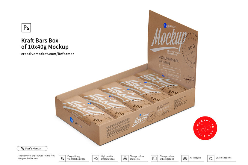 Kraft Bars Box of 10x40g Mockup
