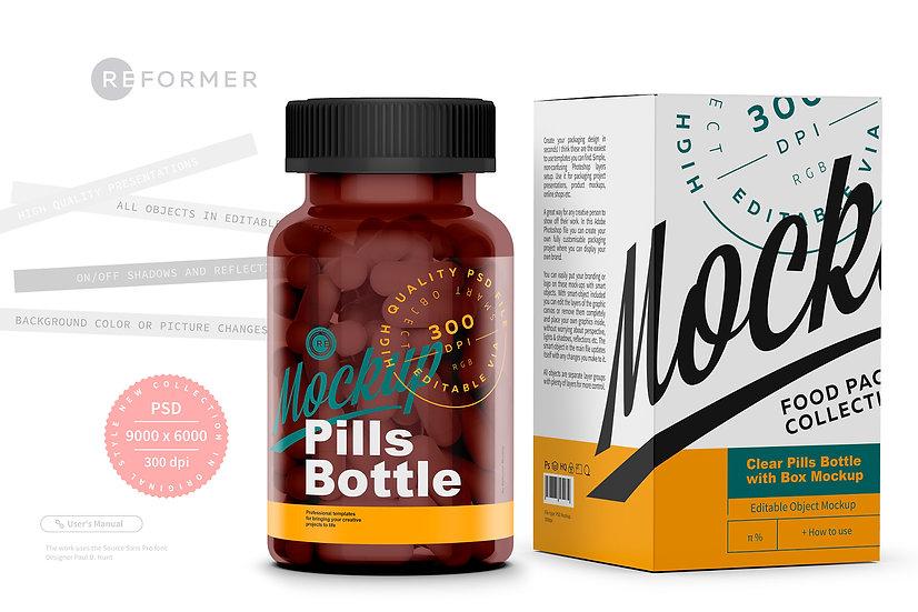Amber Pills Bottle with Box Mockup