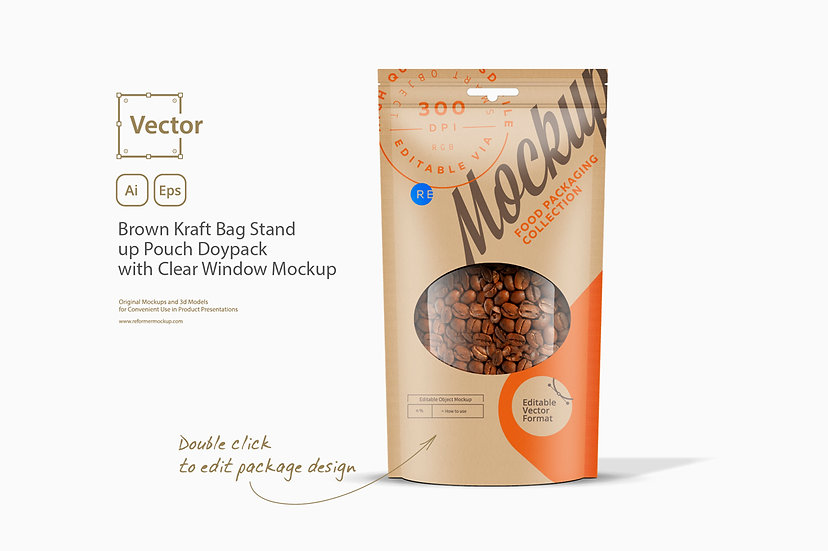 Brown Kraft Bag Stand up Pouch Doypack with Clear Window Mockup