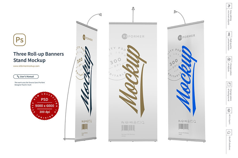 Three Roll-up Banners Stand Mockup