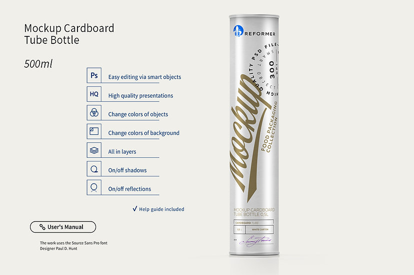 Mockup Cardboard Tube Bottle 0,5l