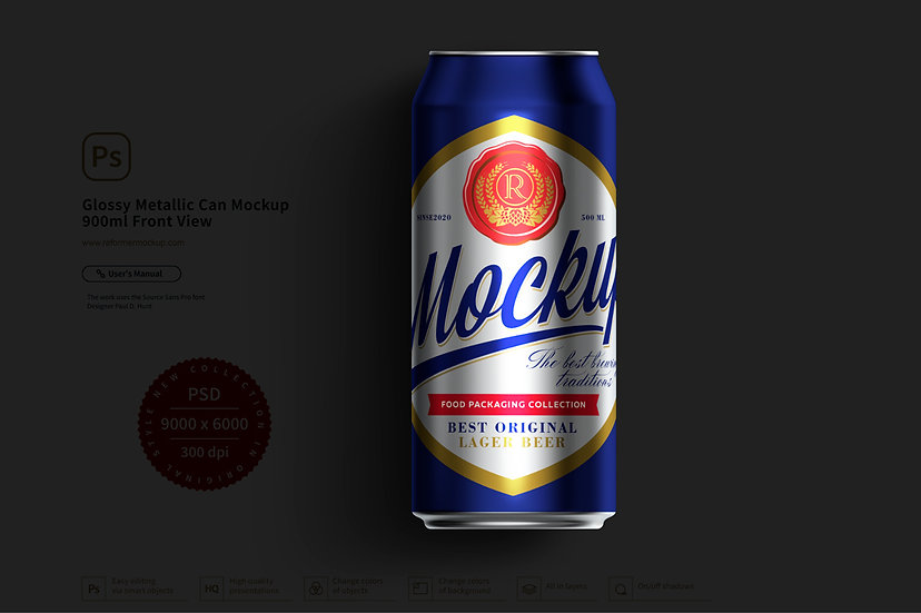 Glossy Metallic Can Mockup 900ml Front View