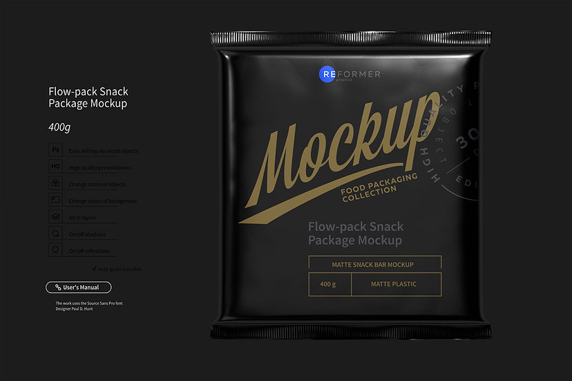 Flow-pack Snack Bar Mockup 400g