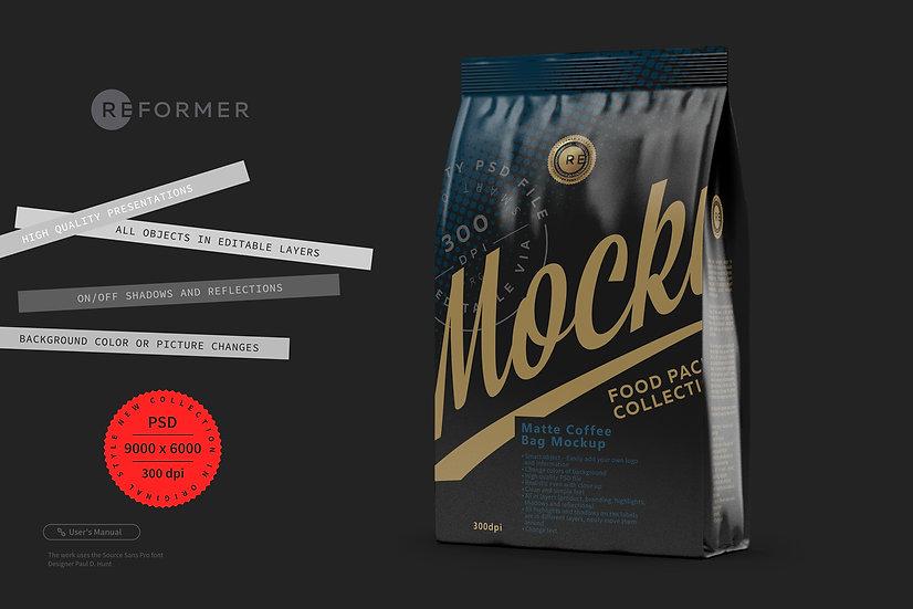 Black Matte Coffee Bag Mockup