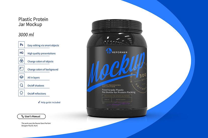 Plastic Protein Jar Mockup 3L