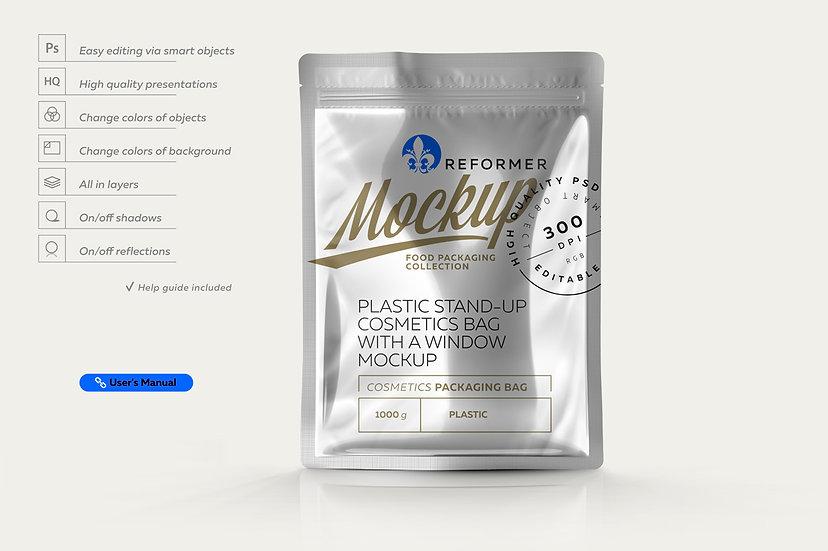 Glossy Metallic Stand-up Bag Mockup