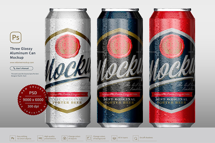 Three Glossy Aluminum Can Mockup