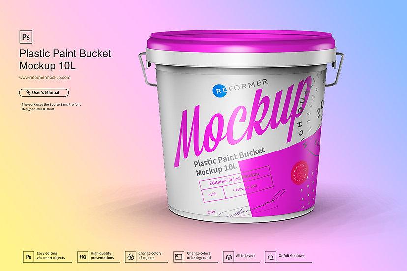 Plastic Paint Bucket Mockup 10L