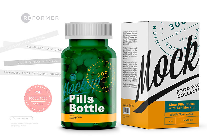 Green Pills Bottle with Box Mockup