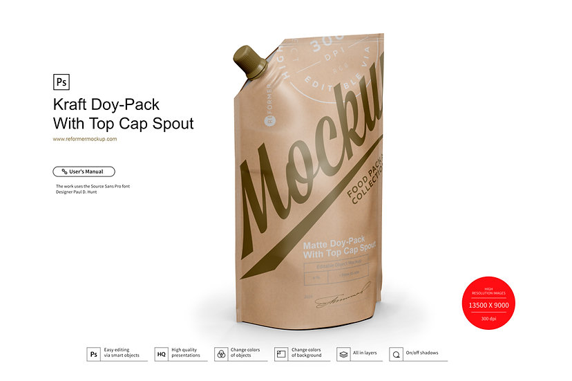 Kraft_Doy-Pack_With_Top_Cap_Spout_¾