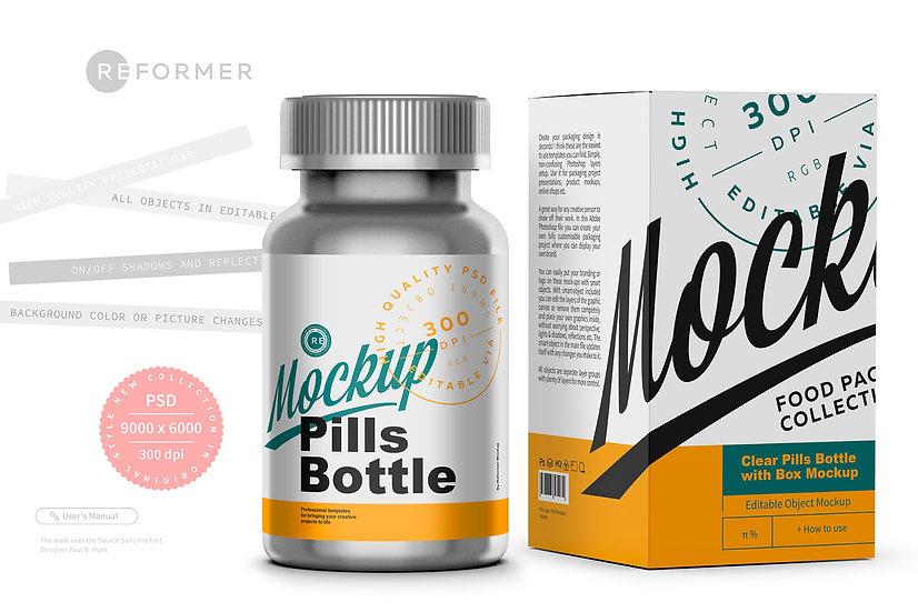 Metallic Pills Bottle with Box Mockup