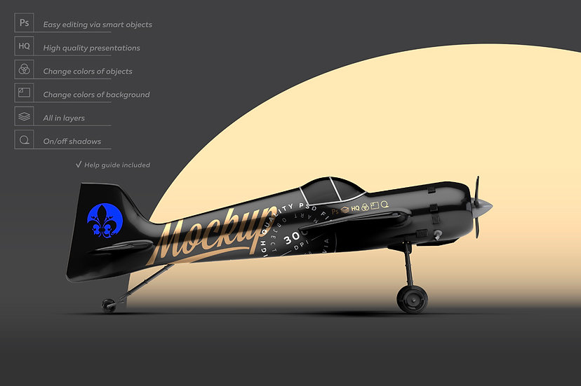Black Aerobatic Aircraft Mockup