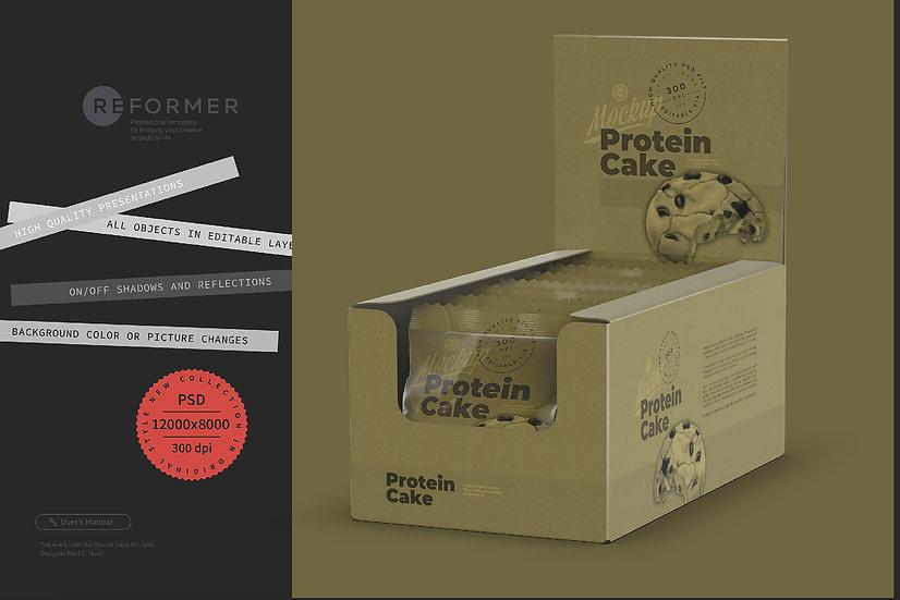 Kraft Display Box with Protein Cake Mockup