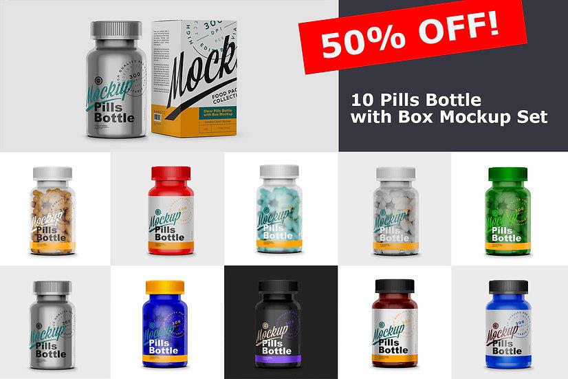 Pills Bottle with Box Mockup Set